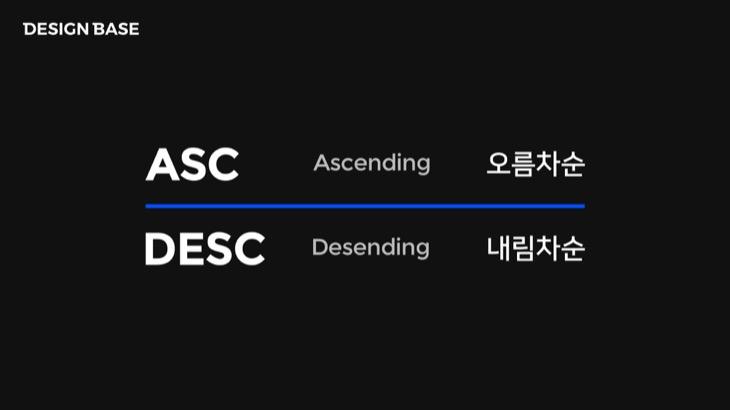 ASC - 오름차순, DESC - 내림차순